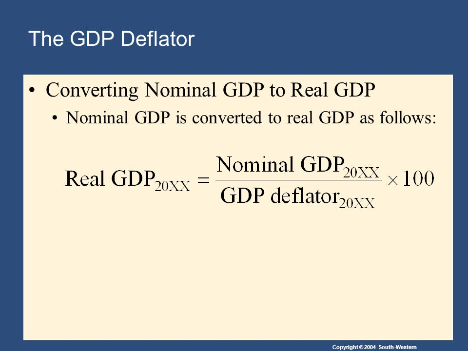 Copyright © 2004 South-Western The GDP Deflator Converting Nominal GDP to Real GDP Nominal GDP is converted to real GDP as follows: