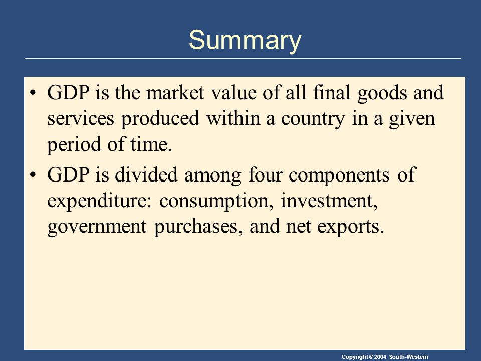 Copyright © 2004 South-Western Summary GDP is the market value of all final goods and services produced within a country in a given period of time.