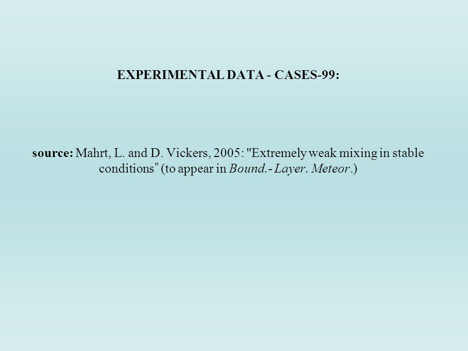 EXPERIMENTAL DATA - CASES-99: source: Mahrt, L. and D.