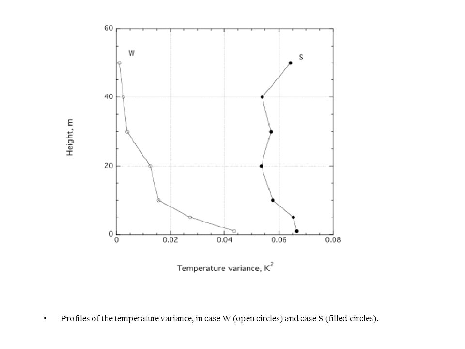 Profiles of the temperature variance, in case W (open circles) and case S (filled circles).
