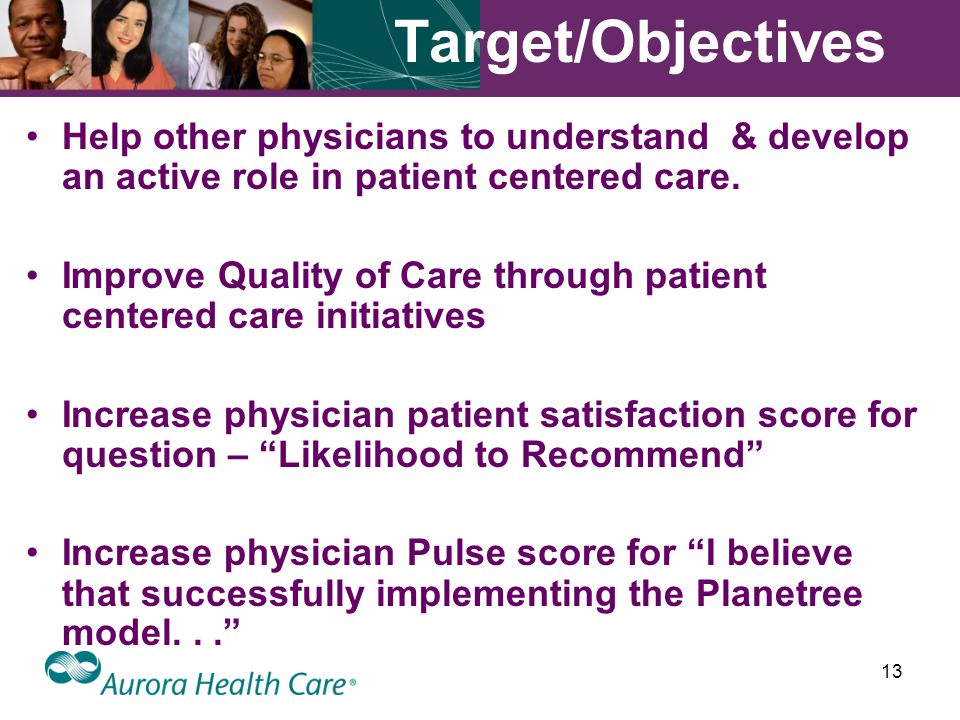 13 Target/Objectives Help other physicians to understand & develop an active role in patient centered care.