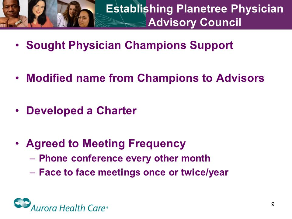 9 Establishing Planetree Physician Advisory Council Sought Physician Champions Support Modified name from Champions to Advisors Developed a Charter Agreed to Meeting Frequency –Phone conference every other month –Face to face meetings once or twice/year
