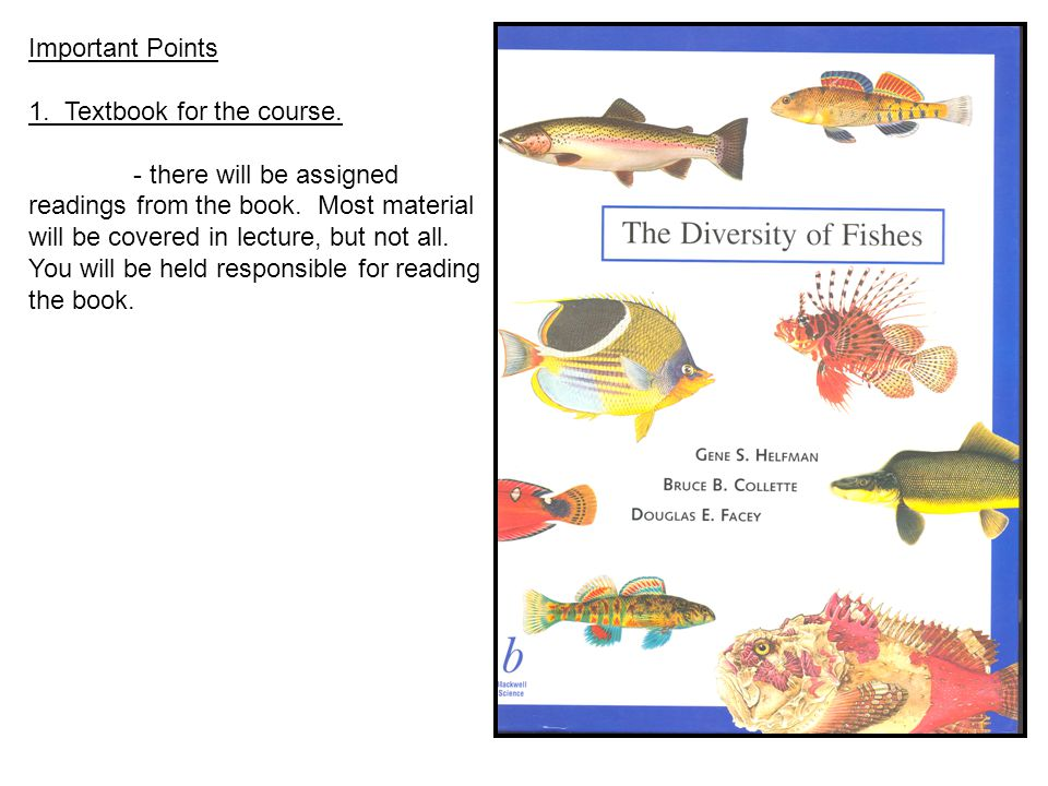 Lecture 1 Introduction To Ichthyology August 25 Roll 2