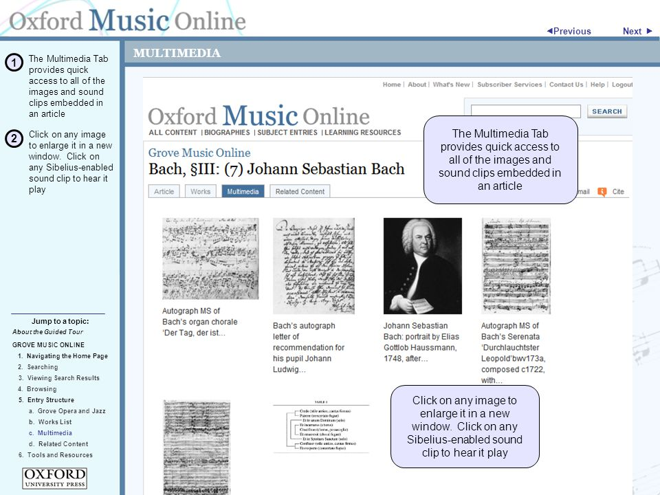 MULTIMEDIA About the Guided Tour GROVE MUSIC ONLINE 1.