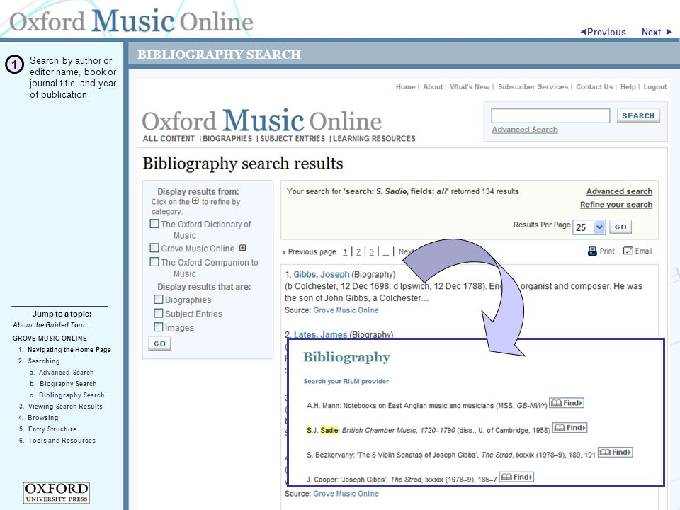 BIBLIOGRAPHY SEARCH GROVE MUSIC ONLINE 2. Searching Jump to a topic:  Previous 5.