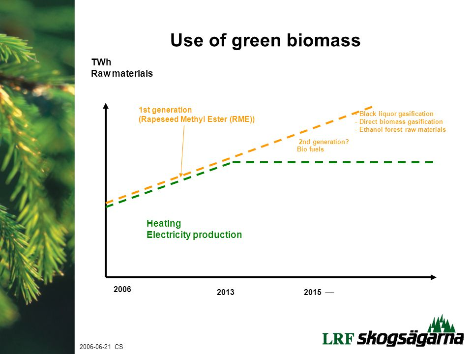 Use of green biomass TWh Raw materials Heating Electricity production Bio fuels 2nd generation.