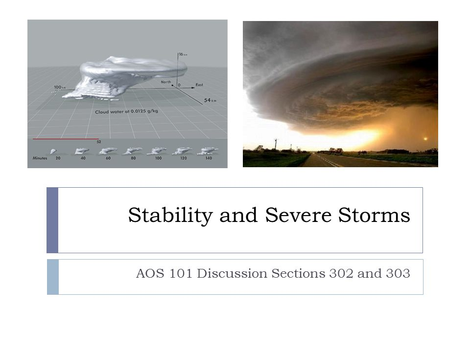Stability and Severe Storms AOS 101 Discussion Sections 302 and 303