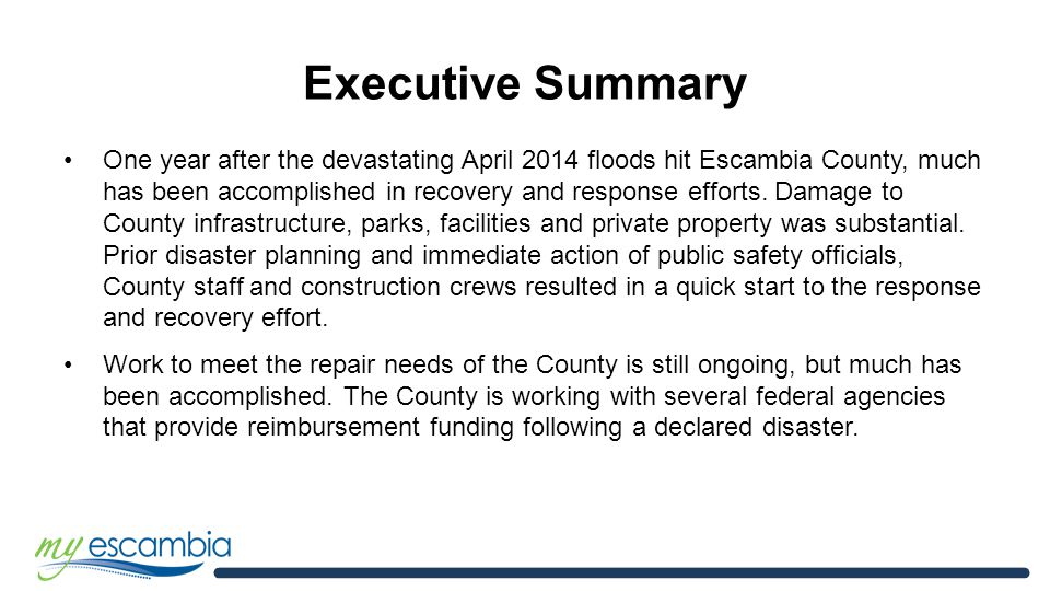Escambia County Flood Recovery 1 Year Anniversary Report Escambia