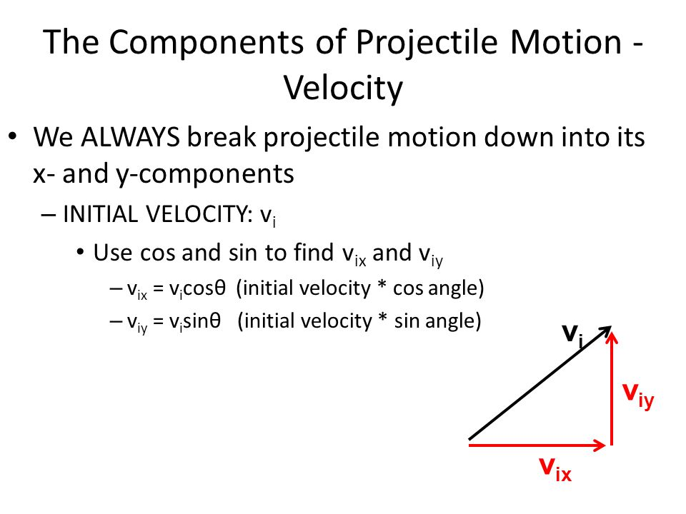 The Components of Projectile Motion - Velocity We ALWAYS break projectile motion down into its x- and y-components – INITIAL VELOCITY: v i Use cos and sin to find v ix and v iy – v ix = v i cosθ (initial velocity * cos angle) – v iy = v i sinθ (initial velocity * sin angle) vivi v iy v ix