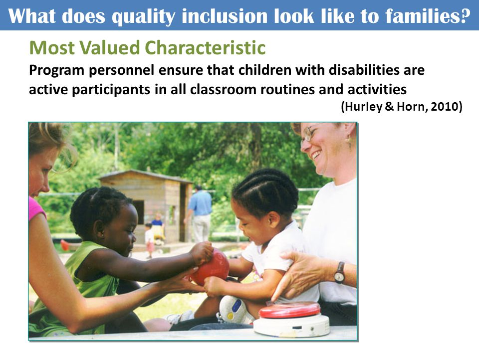 What does quality inclusion look like to families.