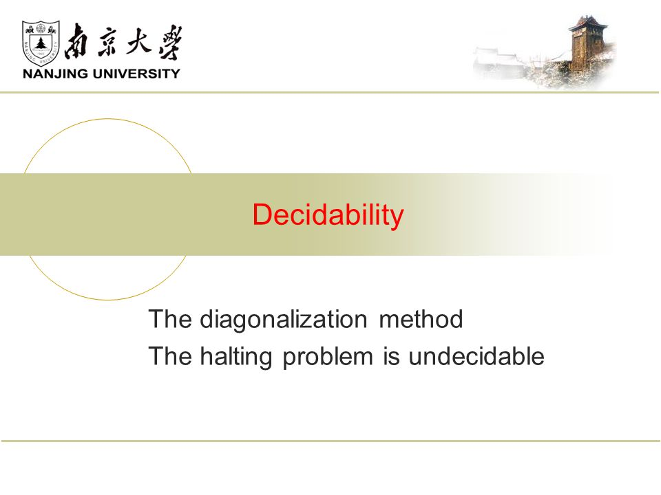 The diagonalization method The halting problem is undecidable Decidability