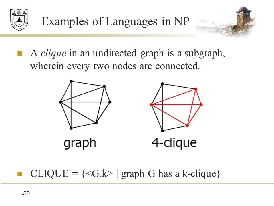  50 Examples of Languages in NP A clique in an undirected graph is a subgraph, wherein every two nodes are connected.
