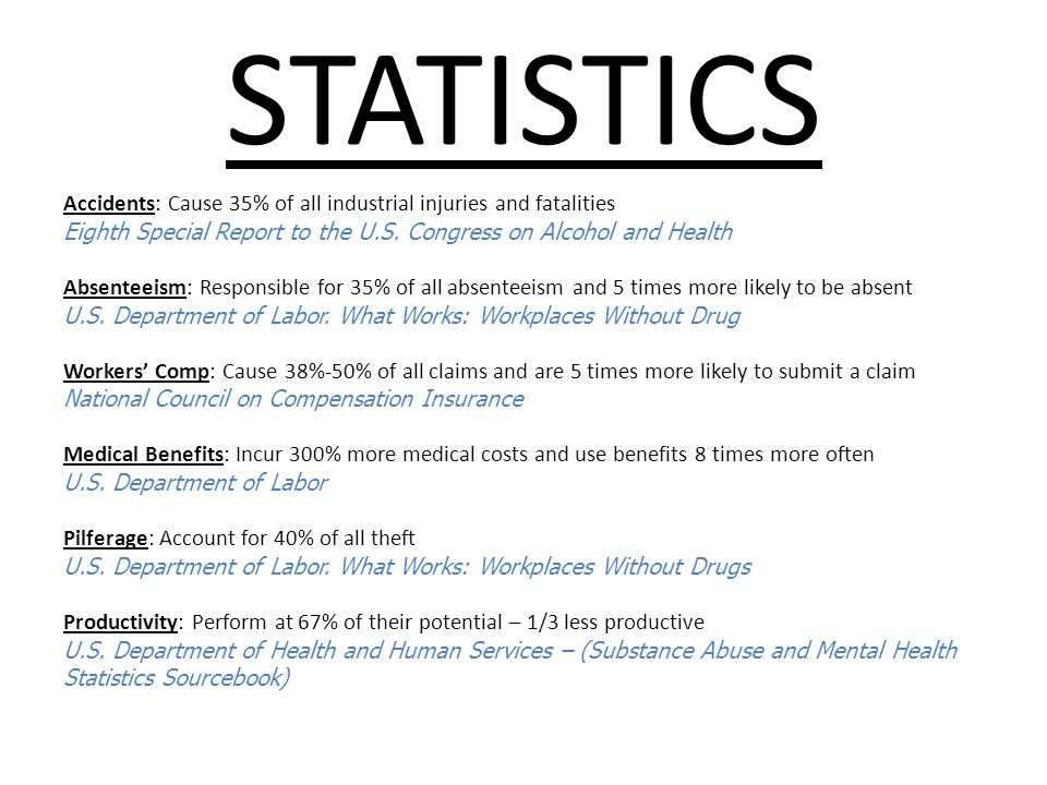 STATISTICS Accidents: Cause 35% of all industrial injuries and fatalities Eighth Special Report to the U.S.