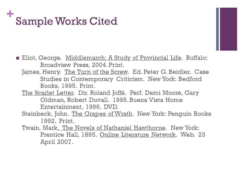 Sample Works Cited Eliot George Middlemarch A Study Of Provincial Life