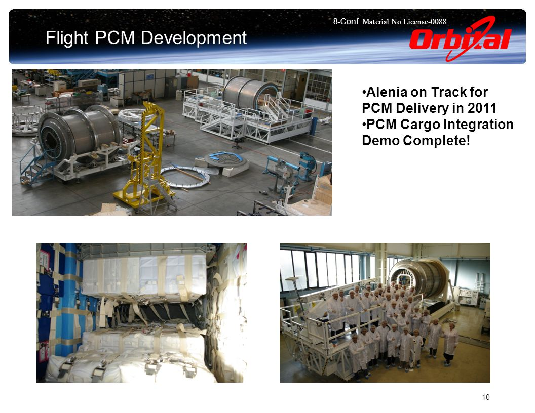 8-Conf Material No License Flight PCM Development Alenia on Track for PCM Delivery in 2011 PCM Cargo Integration Demo Complete!