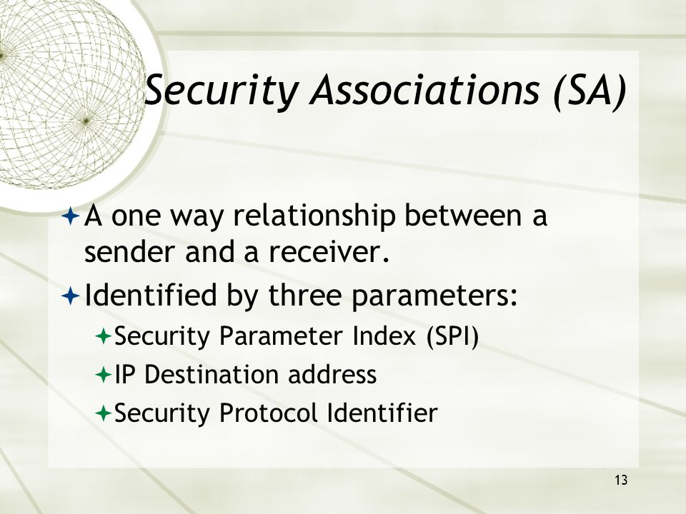 13 Security Associations (SA)  A one way relationship between a sender and a receiver.