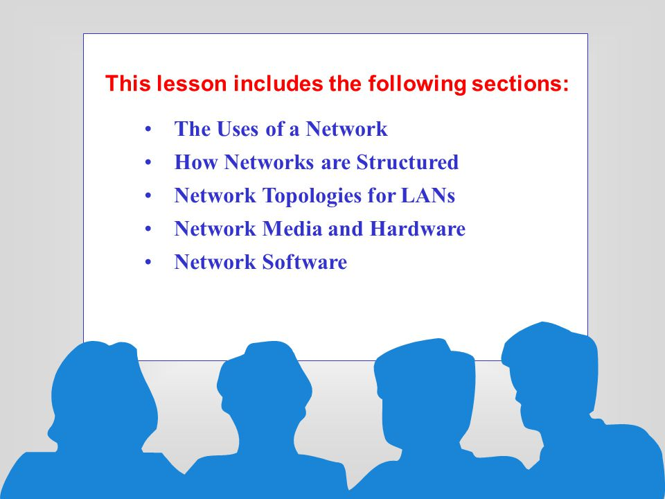 This lesson includes the following sections: The Uses of a Network How Networks are Structured Network Topologies for LANs Network Media and Hardware Network Software