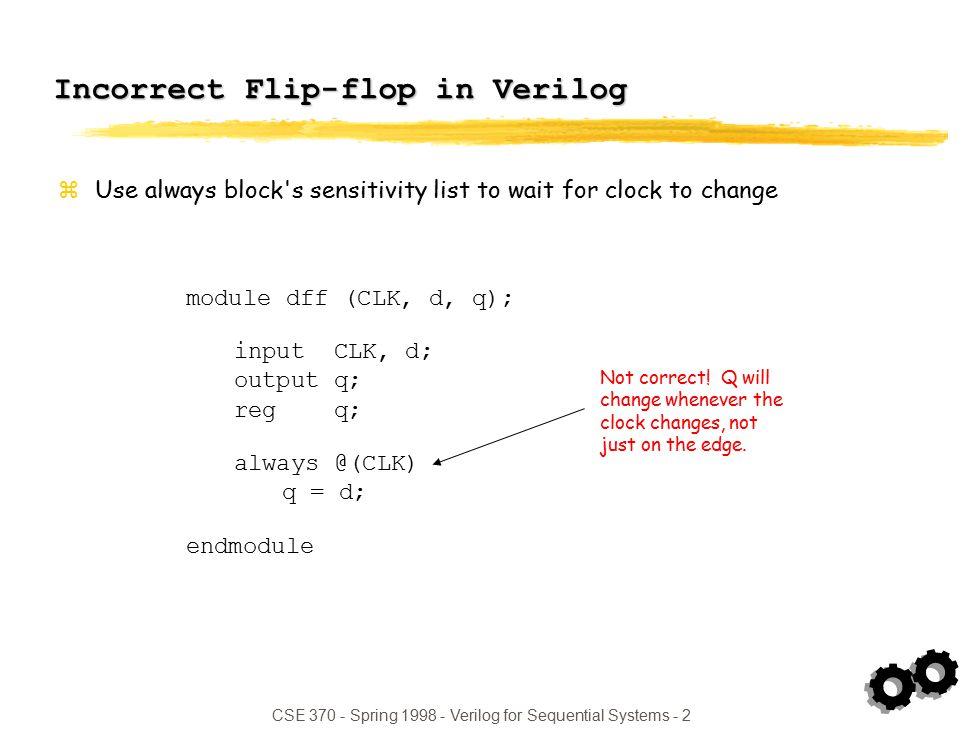 CSE Spring Verilog for Sequential Systems - 1 Today: Verilog