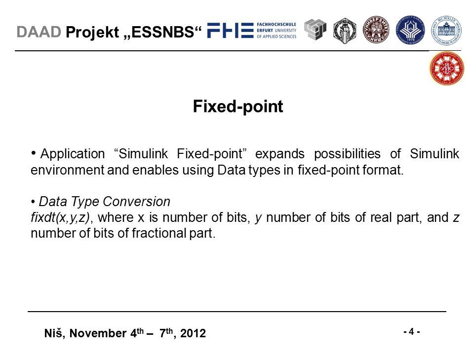 "Projekt ""ESSNBS"" Niš, November 4 th – 7 th, DAAD HDL Code"