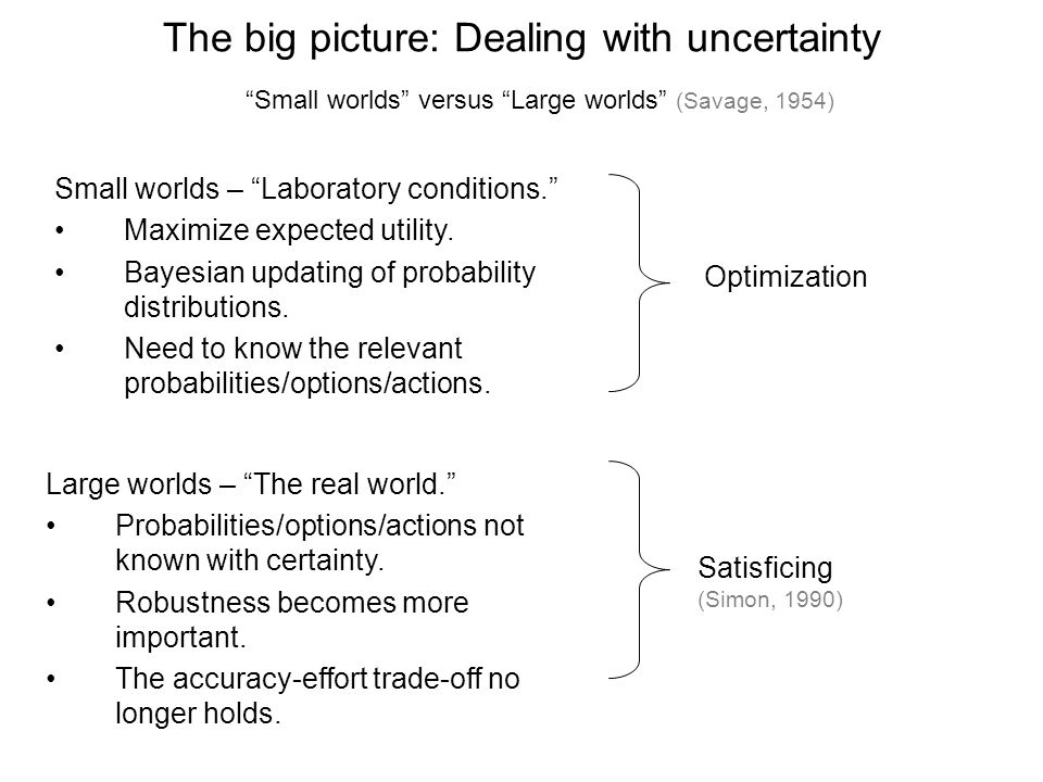 The big picture: Dealing with uncertainty Large worlds – The real world. Probabilities/options/actions not known with certainty.