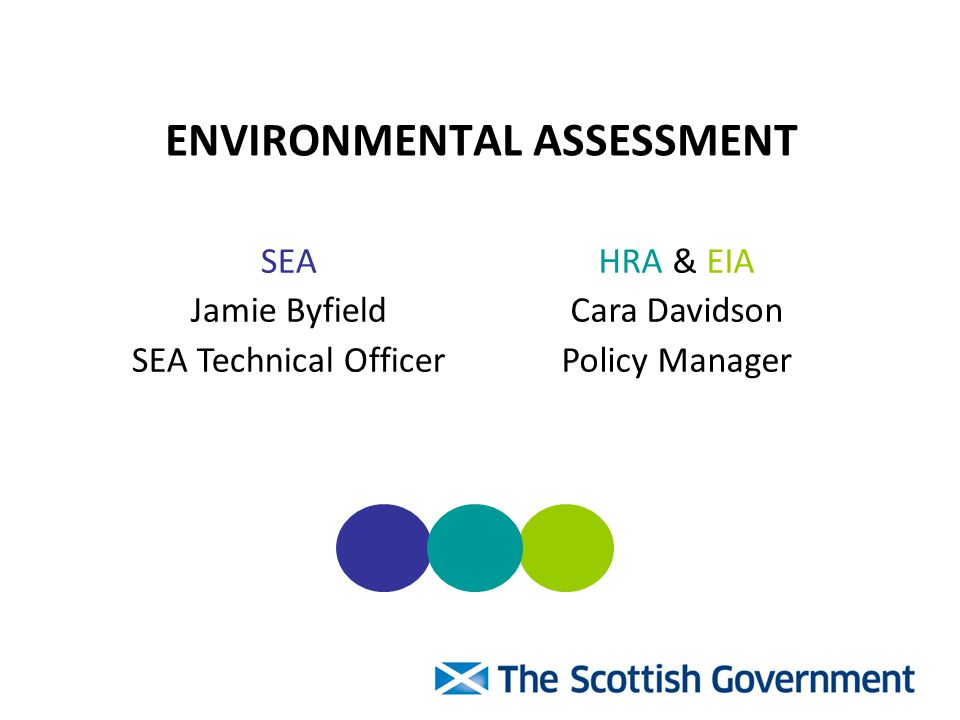 ENVIRONMENTAL ASSESSMENT SEA Jamie Byfield SEA Technical Officer HRA & EIA Cara Davidson Policy Manager