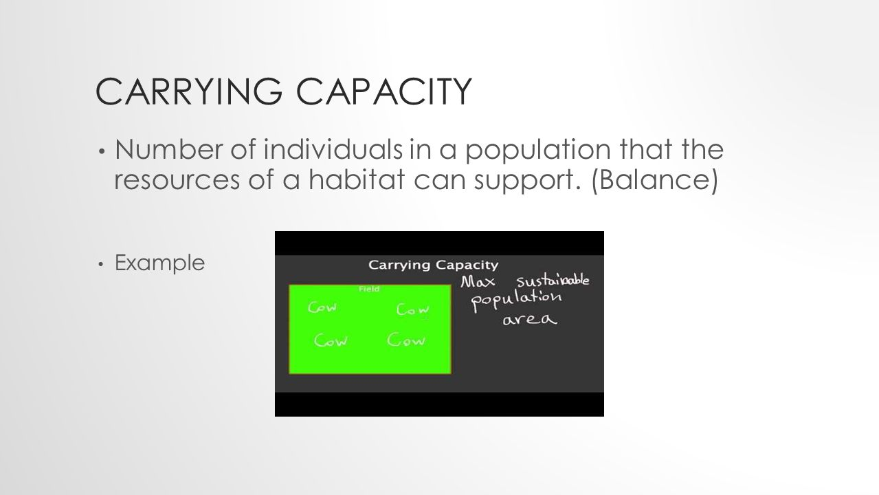 CARRYING CAPACITY Number of individuals in a population that the resources of a habitat can support.
