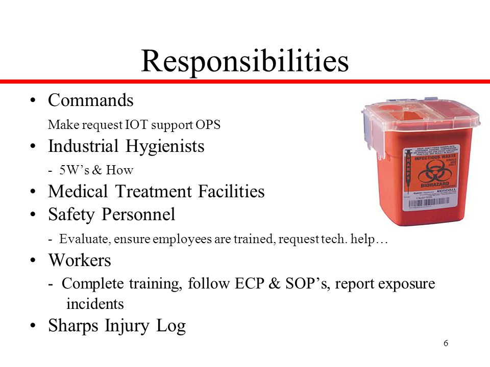 6 Responsibilities Commands Make request IOT support OPS Industrial Hygienists - 5W's & How Medical Treatment Facilities Safety Personnel - Evaluate, ensure employees are trained, request tech.