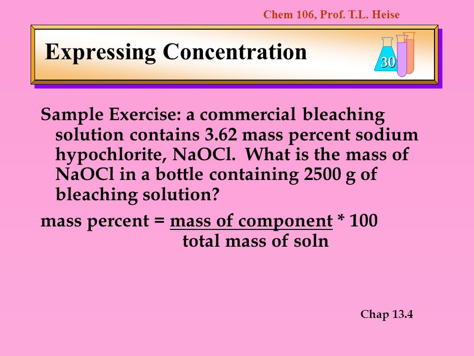 mass percent of sodium hypochlorite in commercial bleach