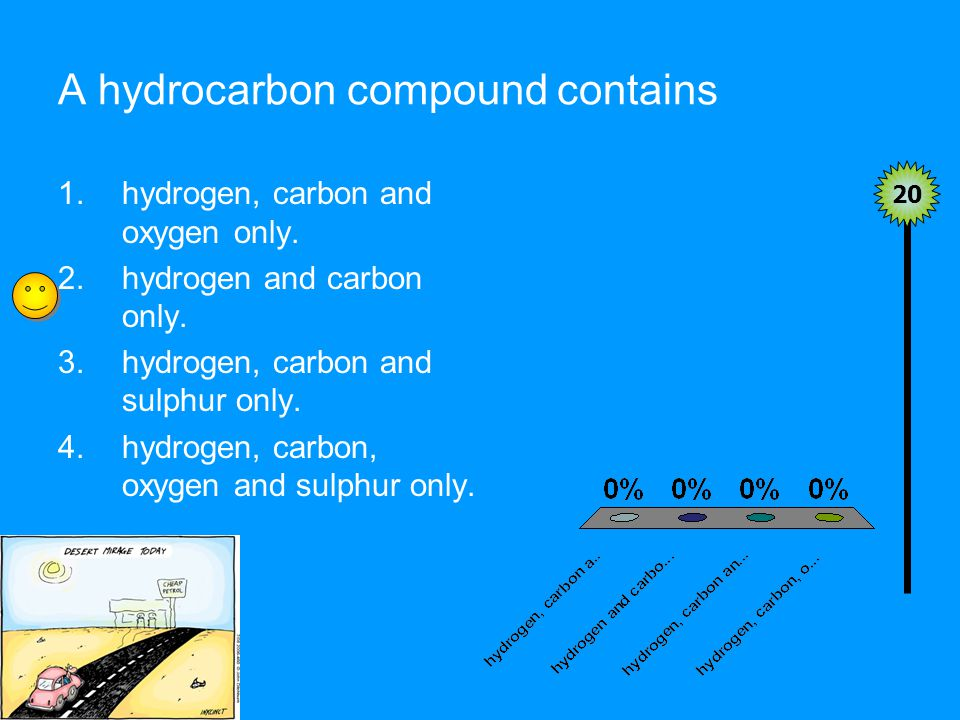 A hydrocarbon compound contains 20 1.hydrogen, carbon and oxygen only.