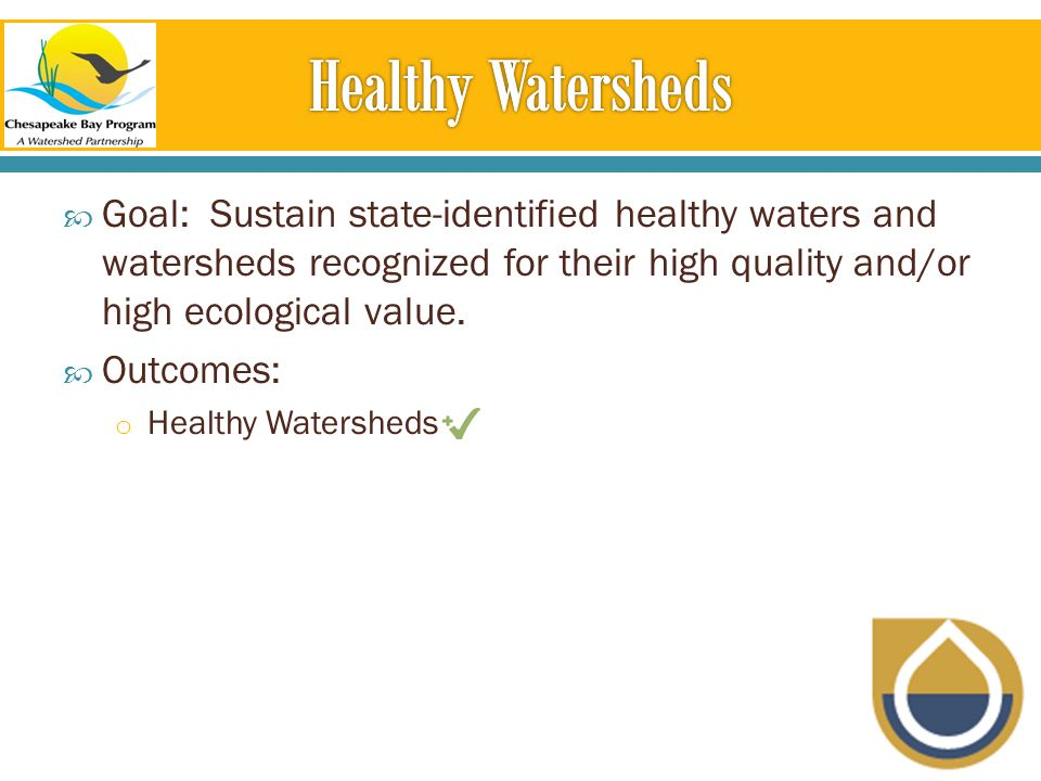  Goal: Sustain state-identified healthy waters and watersheds recognized for their high quality and/or high ecological value.