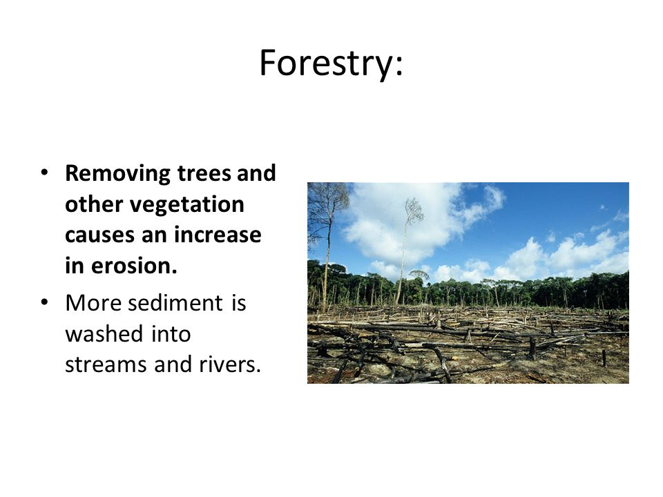 Forestry: Removing trees and other vegetation causes an increase in erosion.