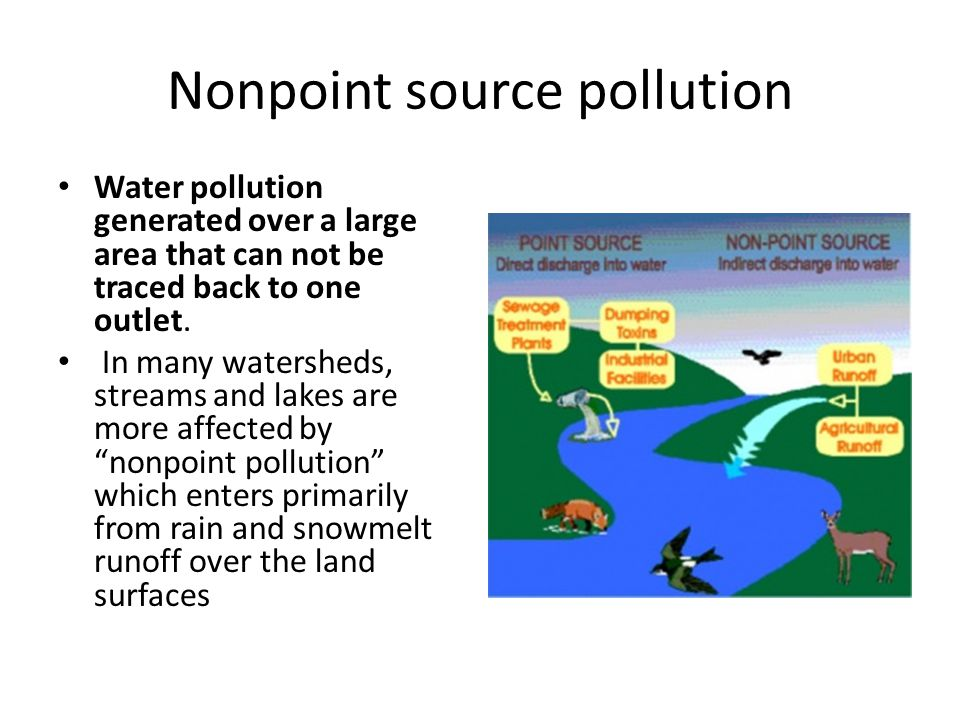 Nonpoint source pollution Water pollution generated over a large area that can not be traced back to one outlet.
