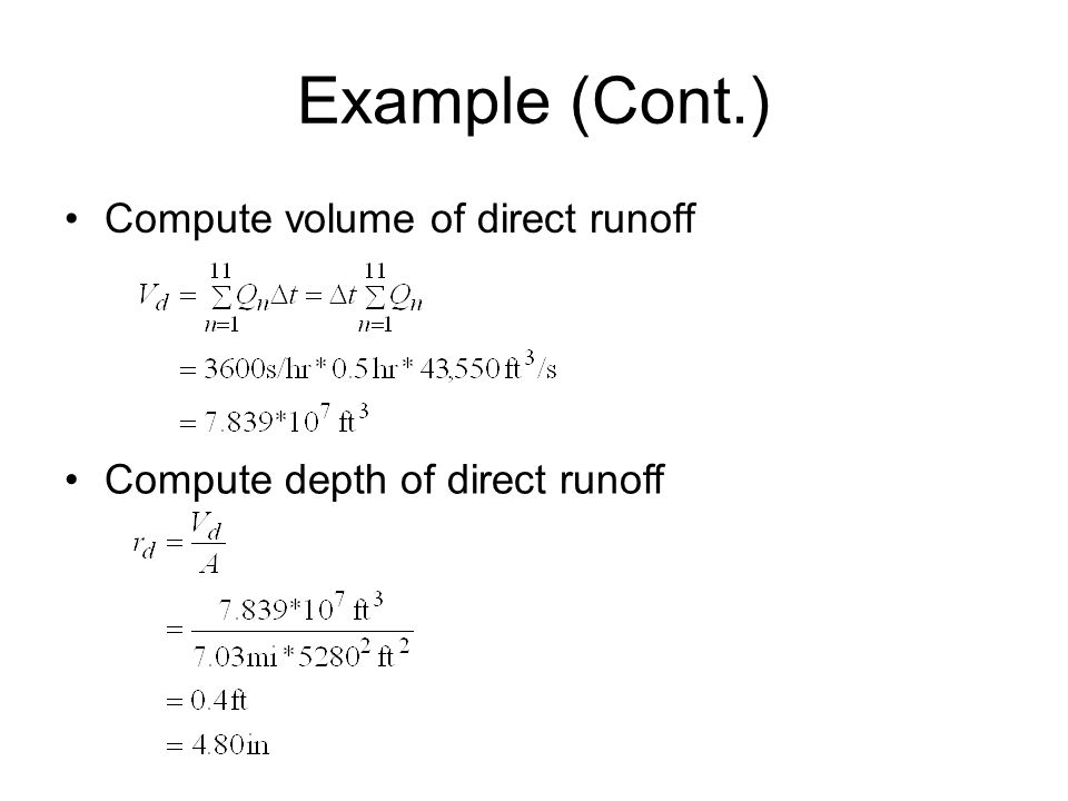 Example (Cont.) Compute volume of direct runoff Compute depth of direct runoff