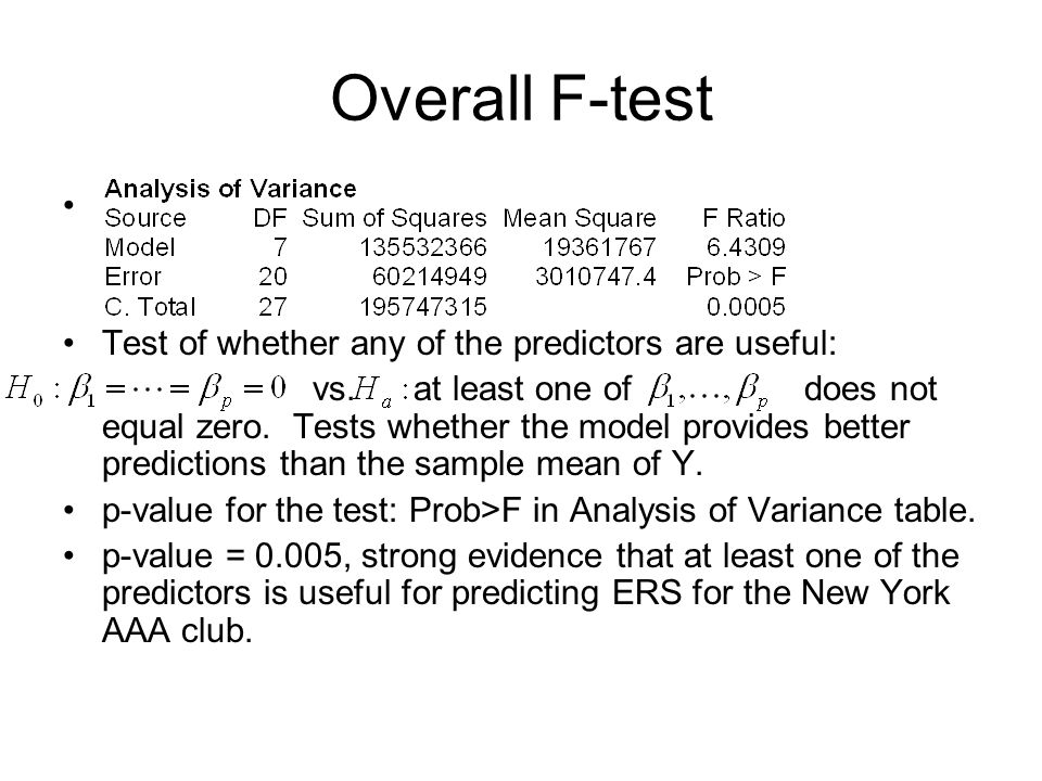 Overall F-test Test of whether any of the predictors are useful: vs.