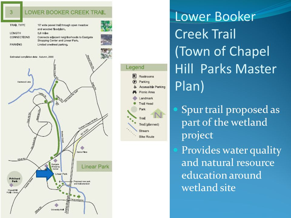Lower Booker Creek Trail (Town of Chapel Hill Parks Master Plan) Spur trail proposed as part of the wetland project Provides water quality and natural resource education around wetland site