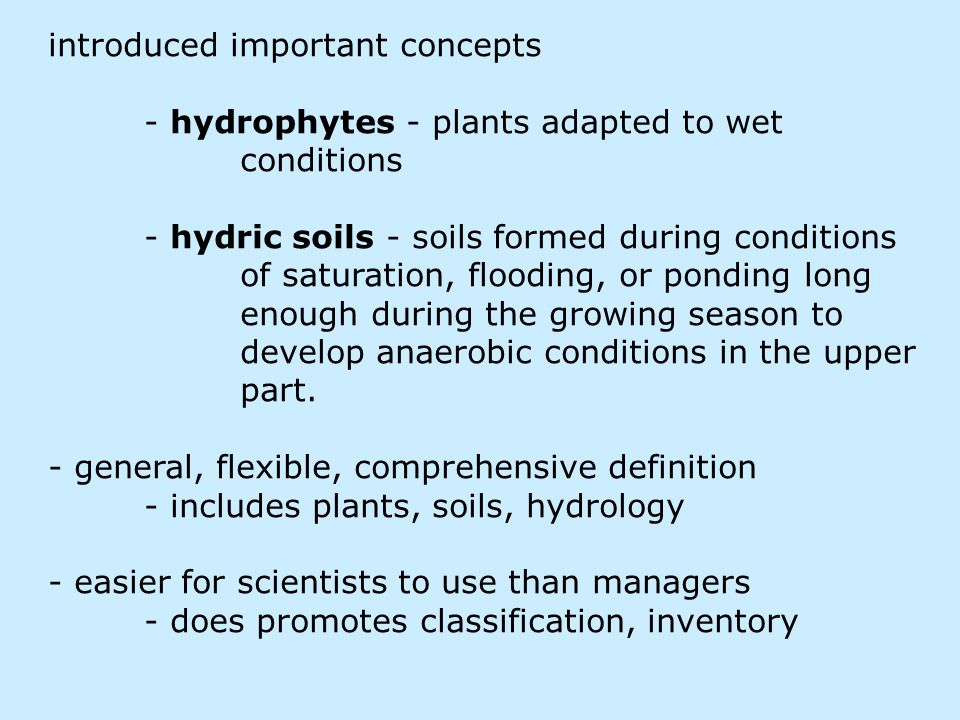 introduced important concepts - hydrophytes - plants adapted to wet conditions - hydric soils - soils formed during conditions of saturation, flooding, or ponding long enough during the growing season to develop anaerobic conditions in the upper part.