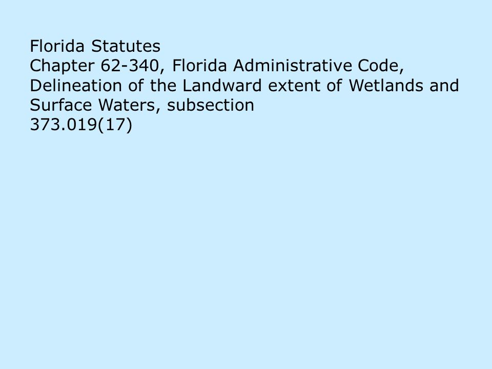 Florida Statutes Chapter 62-340, Florida Administrative Code, Delineation of the Landward extent of Wetlands and Surface Waters, subsection 373.019(17)