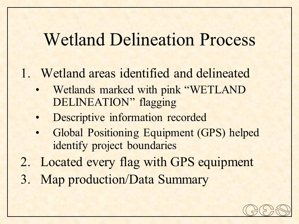 Wetland Delineation Process 1.Wetland areas identified and delineated Wetlands marked with pink WETLAND DELINEATION flagging Descriptive information recorded Global Positioning Equipment (GPS) helped identify project boundaries 2.Located every flag with GPS equipment 3.Map production/Data Summary