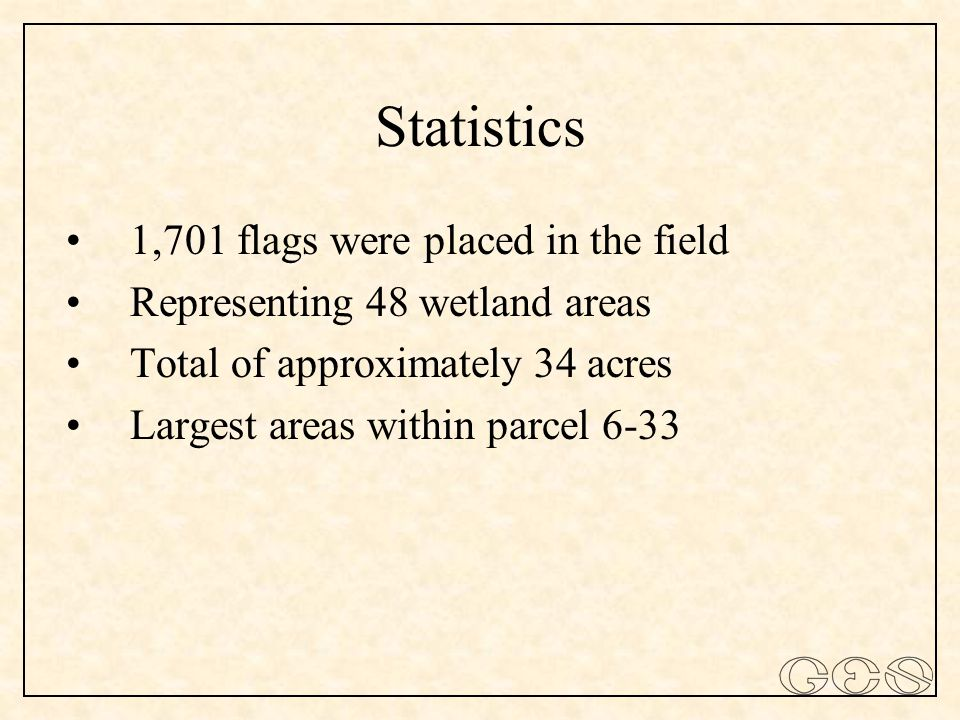 Statistics 1,701 flags were placed in the field Representing 48 wetland areas Total of approximately 34 acres Largest areas within parcel 6-33