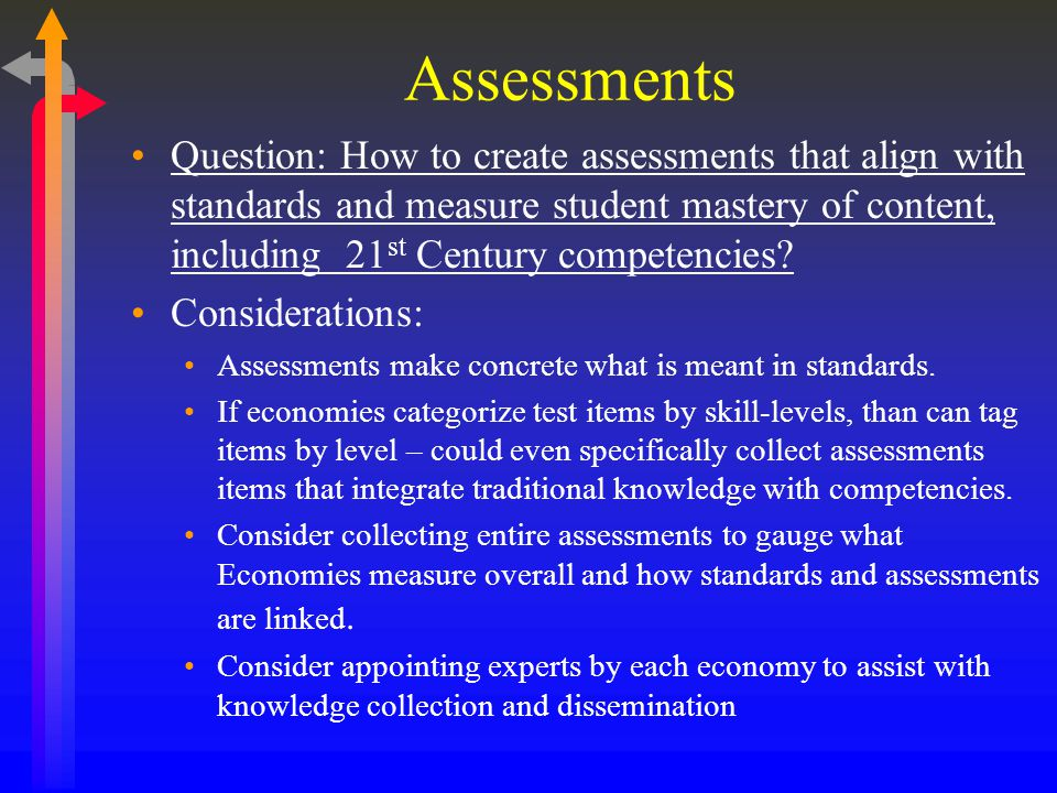 Assessments Question: How to create assessments that align with standards and measure student mastery of content, including 21 st Century competencies.