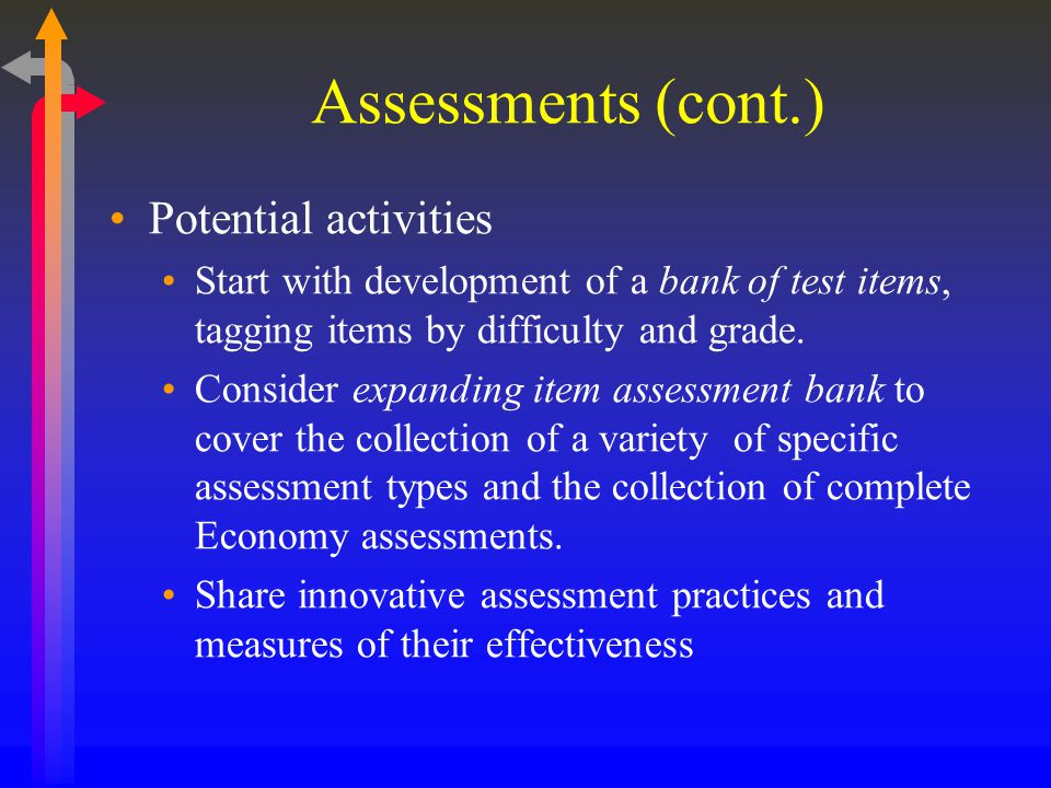 Assessments (cont.) Potential activities Start with development of a bank of test items, tagging items by difficulty and grade.