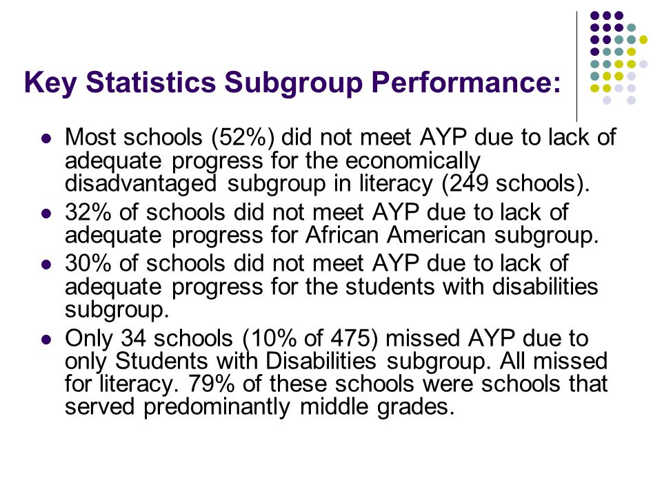 Key Statistics Subgroup Performance: Most schools (52%) did not meet AYP due to lack of adequate progress for the economically disadvantaged subgroup in literacy (249 schools).