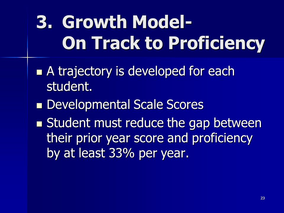 23 3.Growth Model- On Track to Proficiency A trajectory is developed for each student.