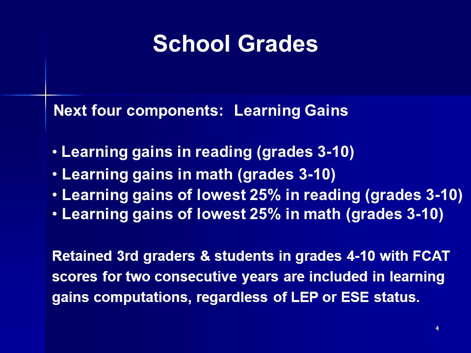 4 School Grades Learning gains in reading (grades 3-10) Learning gains in math (grades 3-10) Learning gains of lowest 25% in reading (grades 3-10) Learning gains of lowest 25% in math (grades 3-10) Retained 3rd graders & students in grades 4-10 with FCAT scores for two consecutive years are included in learning gains computations, regardless of LEP or ESE status.