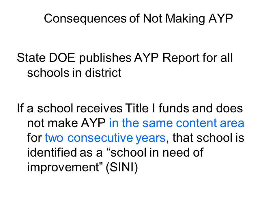Consequences of Not Making AYP State DOE publishes AYP Report for all schools in district If a school receives Title I funds and does not make AYP in the same content area for two consecutive years, that school is identified as a school in need of improvement (SINI)