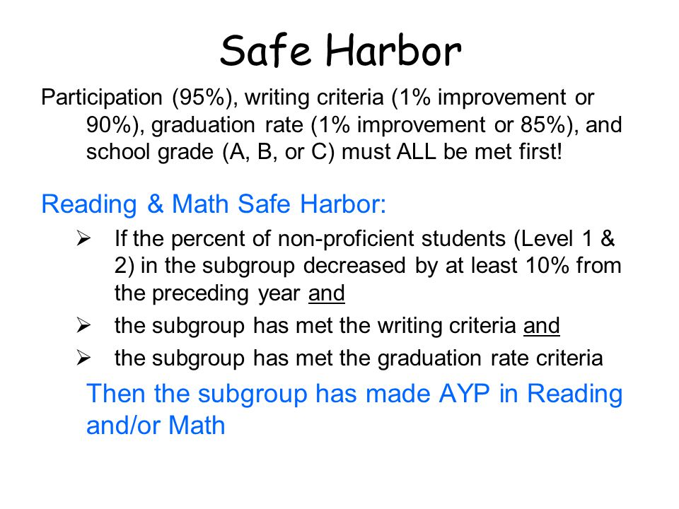 Safe Harbor Participation (95%), writing criteria (1% improvement or 90%), graduation rate (1% improvement or 85%), and school grade (A, B, or C) must ALL be met first.