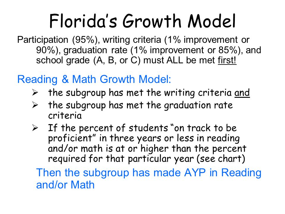 Florida's Growth Model Participation (95%), writing criteria (1% improvement or 90%), graduation rate (1% improvement or 85%), and school grade (A, B, or C) must ALL be met first.