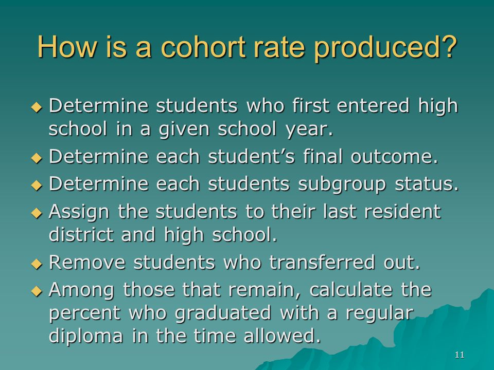 How is a cohort rate produced.