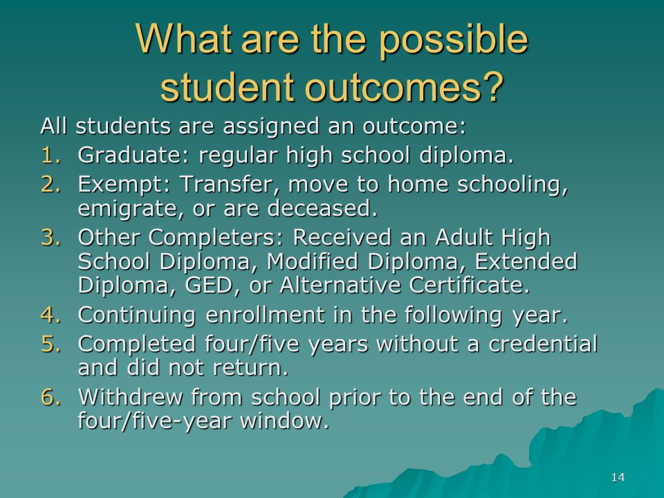 14 What are the possible student outcomes.