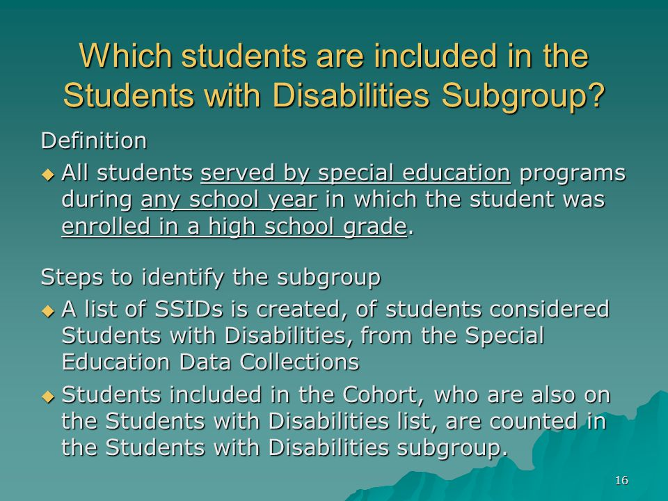 Which students are included in the Students with Disabilities Subgroup.